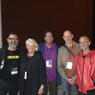Asher Remy-Toledo, Anna from ISEA board of directors, Peter Zorn, Director of EMARE, Arjon Dunnewind, Director IMPAKT Festival, Jaime del Val, Multimedia Artist
