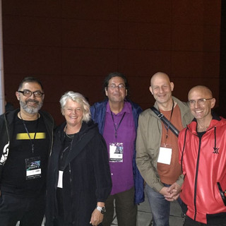Asher Remy-Toledo, Anna from ISEA board of directors, Peter Zorn, Director of EMARE, Arjon Dunnewind, Director IMPAKT Festival, Jaime del Val, Multimedia Artist