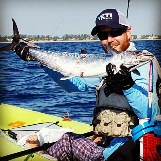 South florida kayak guide Kellan jigged up a nice king with a jimyjig Rudo.jpg.jpg King on the jimyj