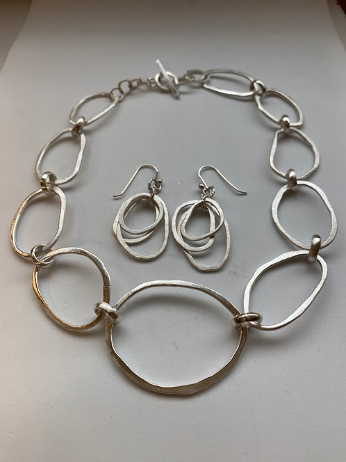 Sterling Silver Adjustable Necklace with Earrings