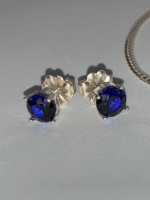 Sapphire 8mm Earrings