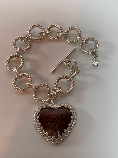 Sterling Silver Bracelet with Jasper Heart Cabochon