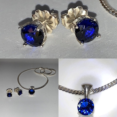 Sapphire Earrings and Sapphire Necklace Set