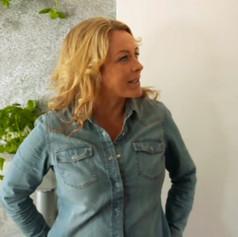 Sarah with the slate veneer feature wall