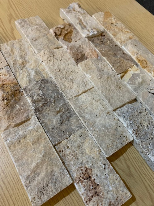 Scabos Multi Colour Travertine 5 x 10cm Split Face Cladding 30.5 x 30.5cm Sheet