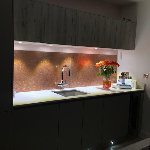 Copper metal kitchen wall