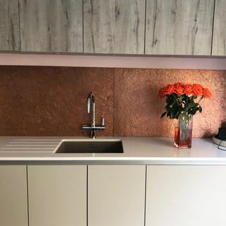 Copper metal kitchen wall