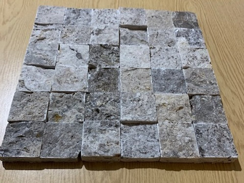 Silver Travertine 5 x 5cm Split Face Cladding Sample