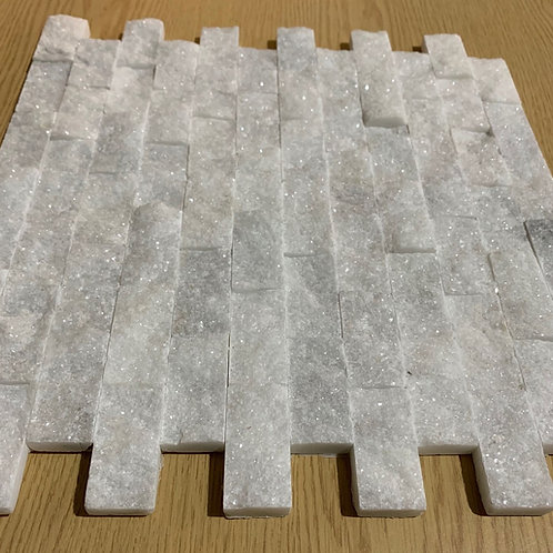 White Marble 2.5 x 5cm Split Face Cladding Sample