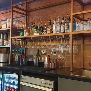 Copper metal bar feature wall.