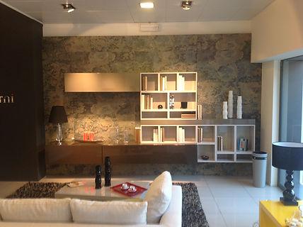 Slate Veneer feature wall in a living room
