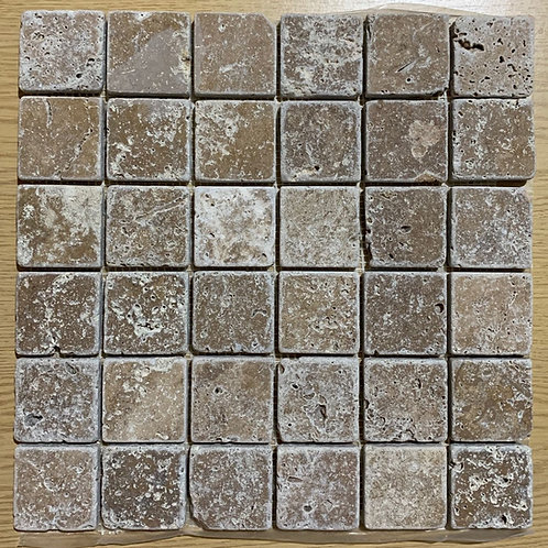 Full Box of Noce Travertine 5 x 5cm tumbled Mosaic 30.5 x 30.5cm sheet