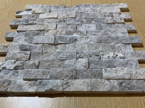 Silver Travertine 2.5 x 5cm Split Face Cladding 30.5 x 30.5cm Sheet