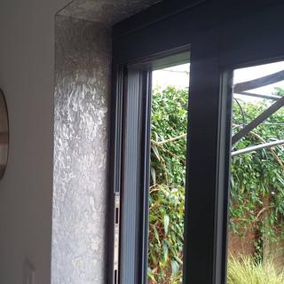 Silver metal window lining