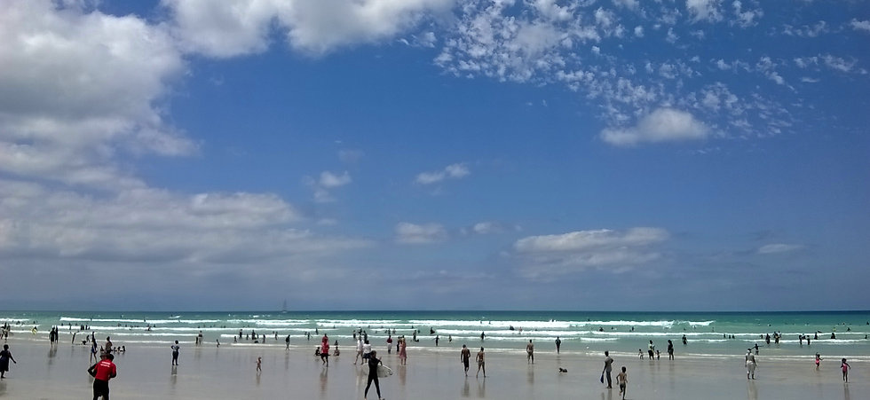 Muizenberg beach on a beautiful summer day