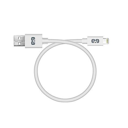 Puregear Cable Redondo USB A - Lightning, 23cm, Blanco