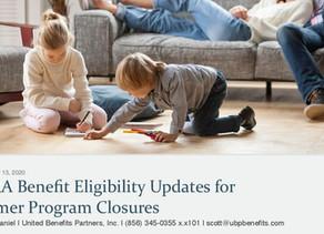 FFCRA Benefit Eligibility Updates for Summer Program Closures