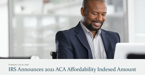 IRS Announces 2021 ACA Affordability Indexed Amount