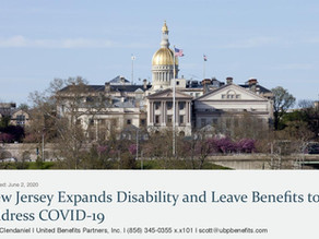 New Jersey Expands Disability and Leave Benefits to Address COVID-19