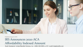 IRS Announces 2020 ACA Affordability Indexed Amount