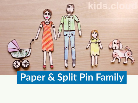 How to make a paper family by using split pins (paper fasteners).