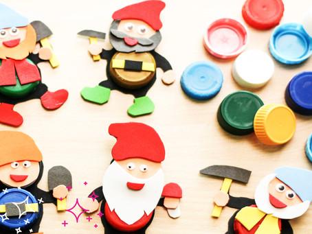 Seven dwarfs by using plastic caps and a foamiran sheets