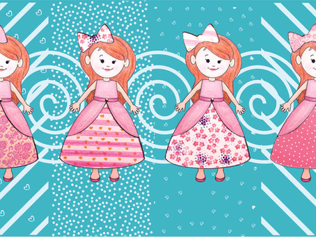 Paper doll with changeable dress patterns