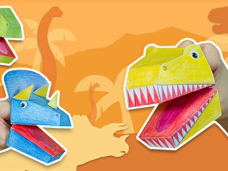 How to make paper dinosaurs puppets?