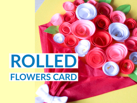 How to make a card decorated by a bouquet of paper rolled flowers?