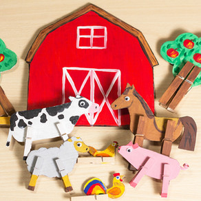 Farm animals of paper and clothespins DIY