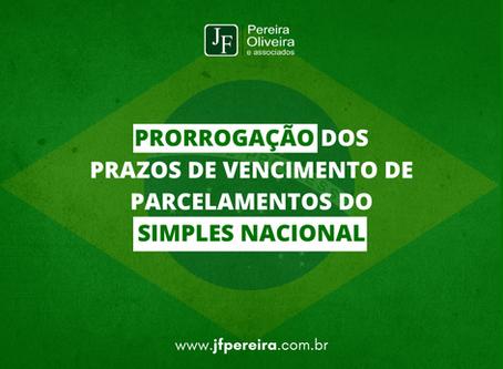 PRORROGAÇÃO DOS PRAZOS DE VENCIMENTO DE PARCELAMENTOS DO SIMPLES NACIONAL