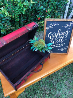 Red Vintage Suitcase Wishing Well