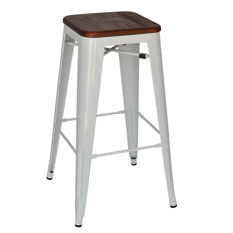 White Stool - Timber Top