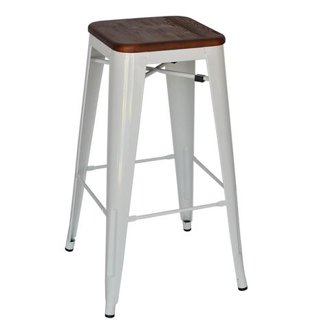 White Stool - Timber Top