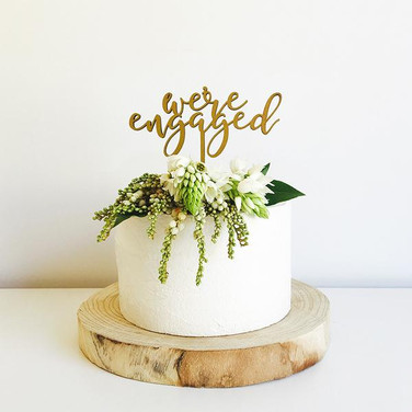 Were Engaged Cake Topper