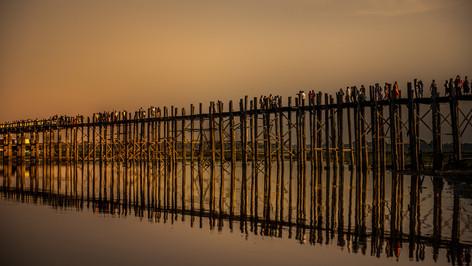 1,2 km long Ubain Bridge / Myanmar