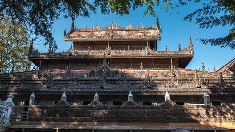 Fully wooden Bhuddist Temple / Myanmar