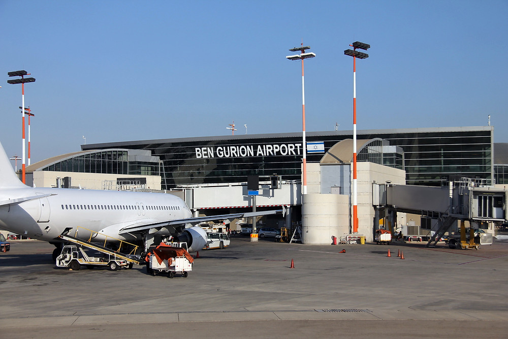 A plane parked at Ben Gurion Airport