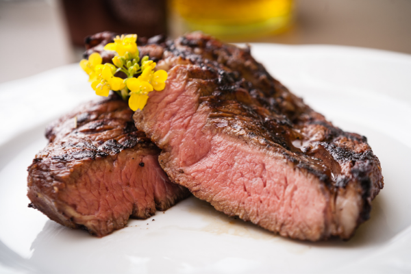 Meat entrecote, steak ayin, on a plate
