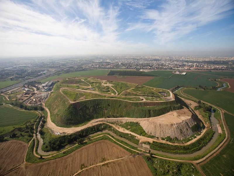 Aerial view of a green covered Ariel Sharon Park