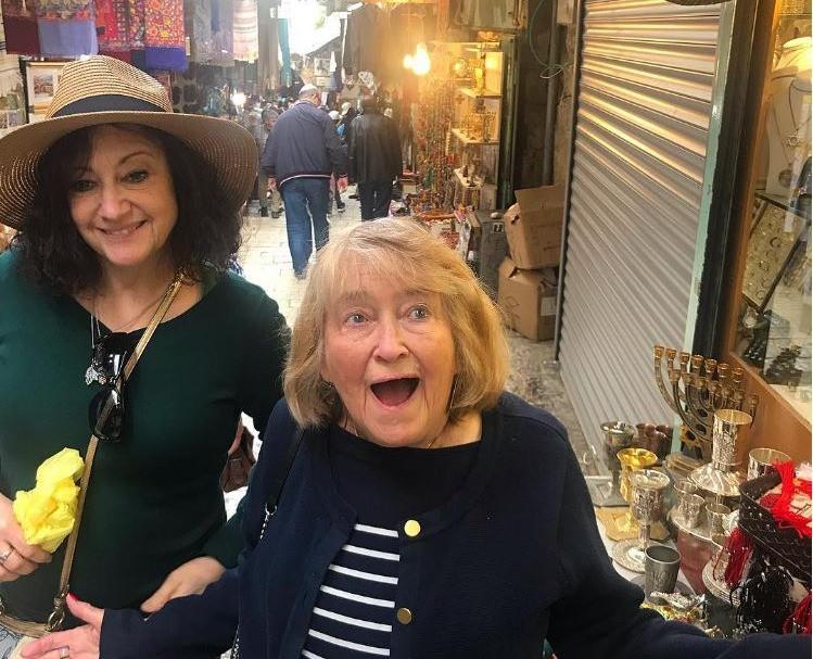 Barbara and her daughter enjoying a walk in a shuk