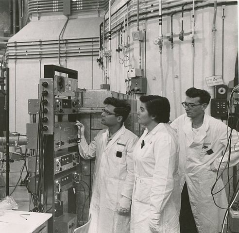 Nuclear scientists in the Soreq Nuclear Research Center, 1963.