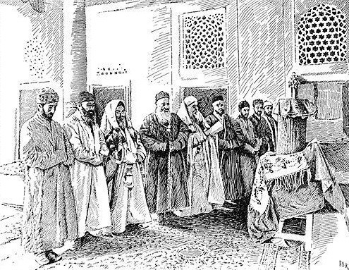 Sketch of the interior of the Great Synagogue in Bukhara