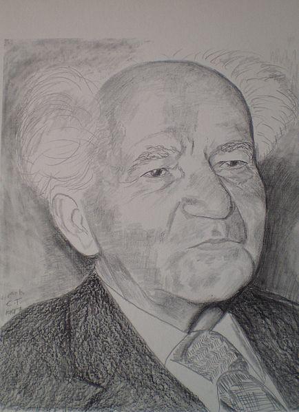 Drawing of David Ben-Gurion made by Chaim Topol