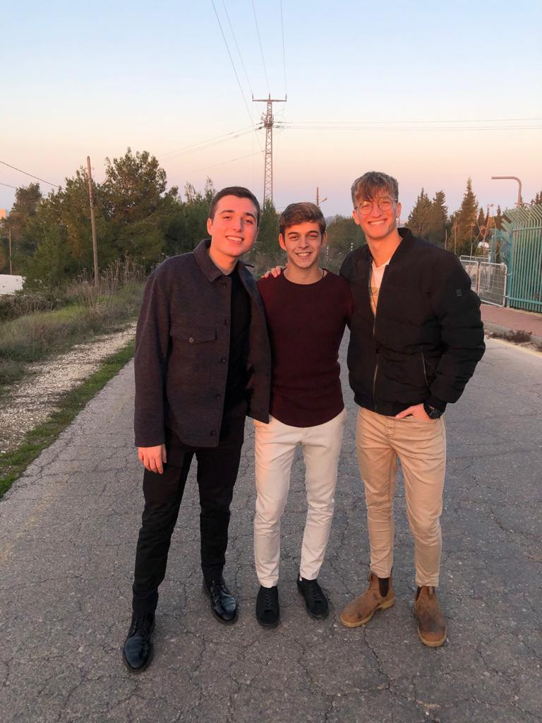 Liam and two friends from his Israeli World Bnei Akiva mechina program