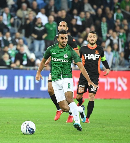 Israeli football player Mohammad Awwad on the football (soccer) field