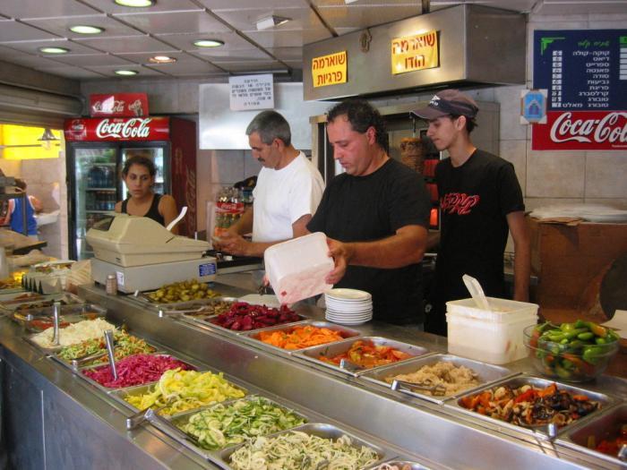 Salatim at a shawarma joint in Israel.