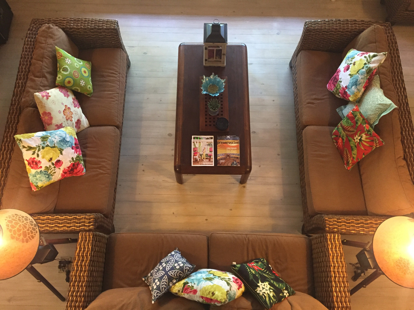 Living room seating area from above