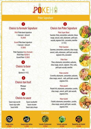 Création menu restaurant pokebowl 1
