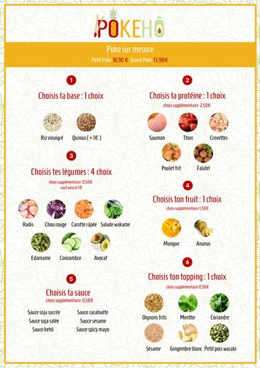 Création menu restaurant pokebowl 2